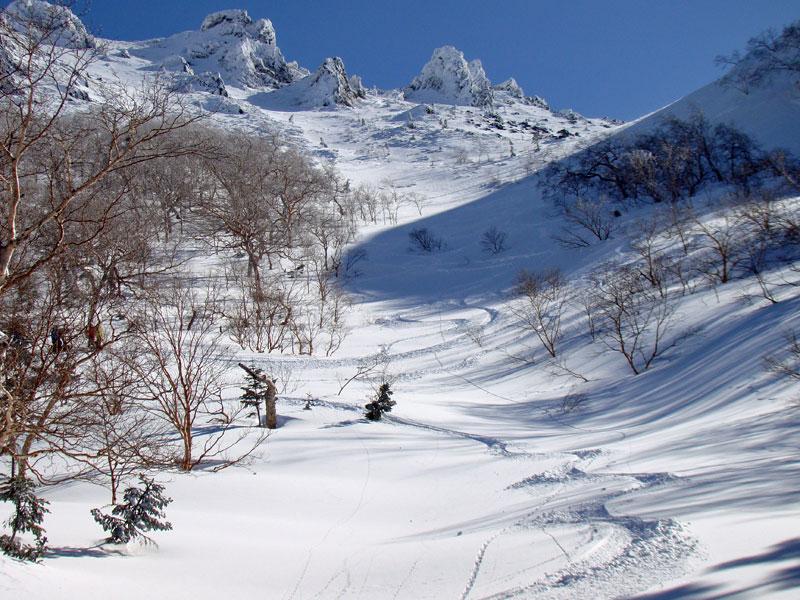 山頂北側のシュート