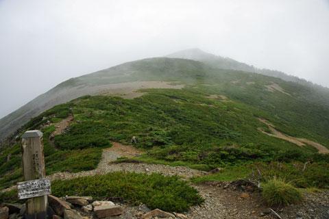 分岐から上河内岳の方向