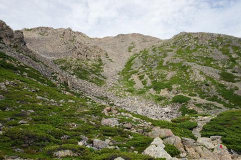 赤石岳の山頂への急登