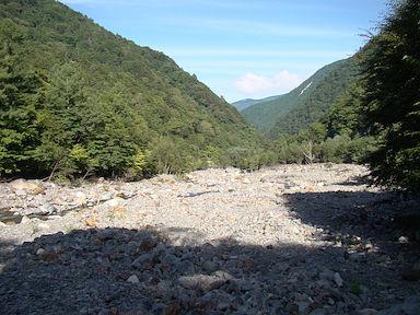出合のあたりはこんな河原