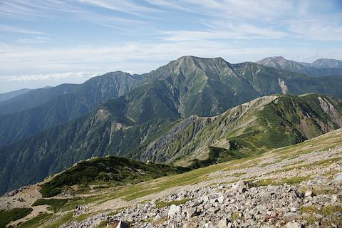 兎岳、聖岳、赤石岳、悪沢岳を一望