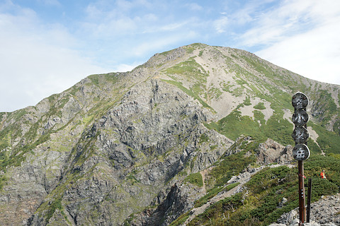 小聖から聖岳を見上げる