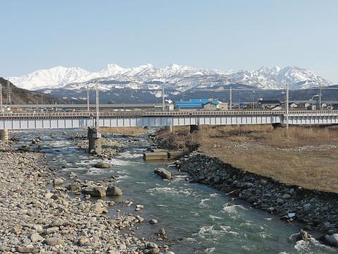 早川橋から眺めた頸城山塊