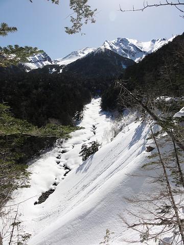 最低鞍部から兵衛谷を見下ろす