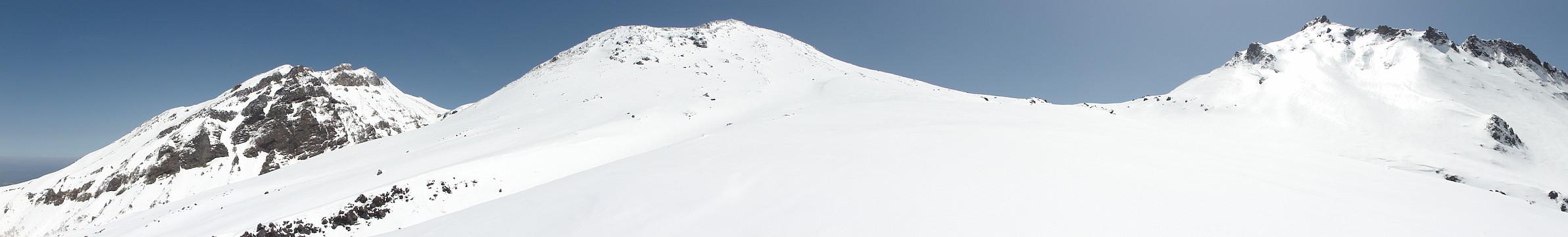 摩利支天山、火口縁のピーク、継母岳のパノラマ