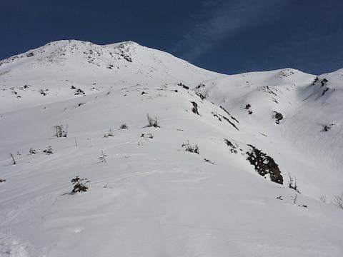 山頂と滑った斜面を振り返る
