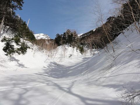 登路は右側の沢、滑降は左側の沢