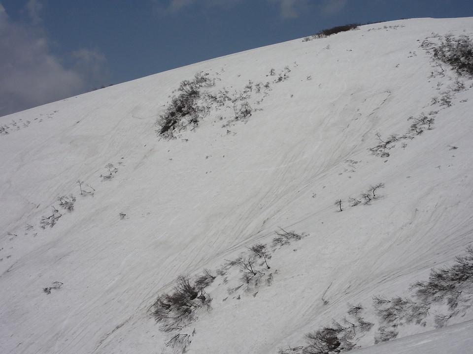 中津又岳の南西斜面に刻んだシュプール