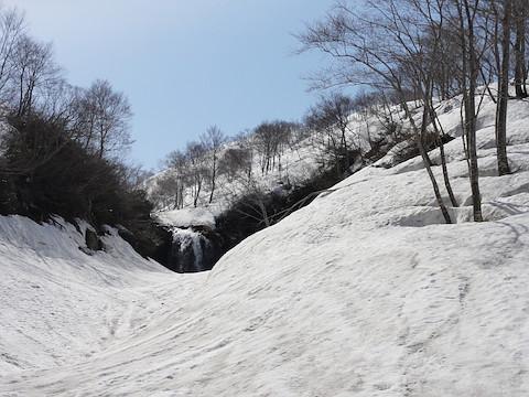 滝は左岸で高巻く