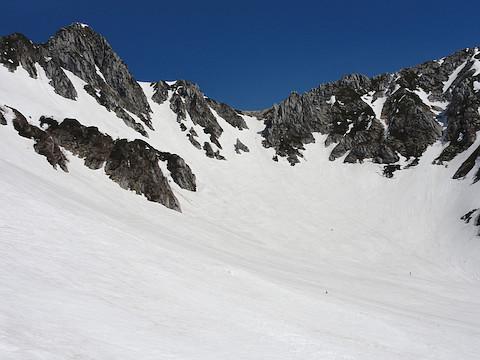 宝剣岳を見上げる