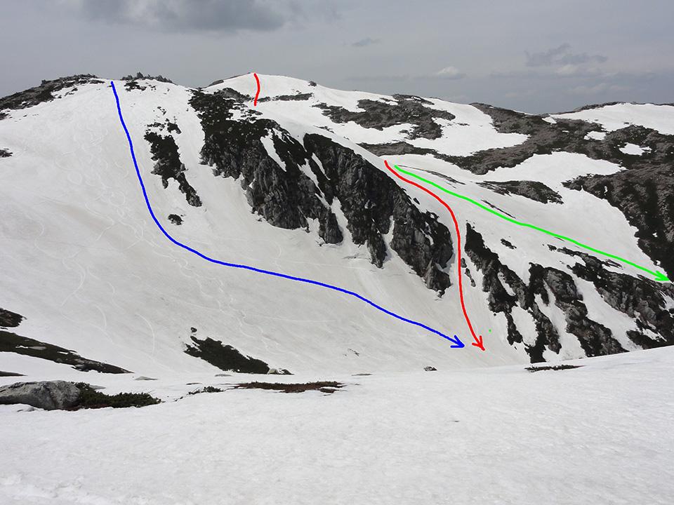 本赤が1目、青が2本目、緑が二人組のルート