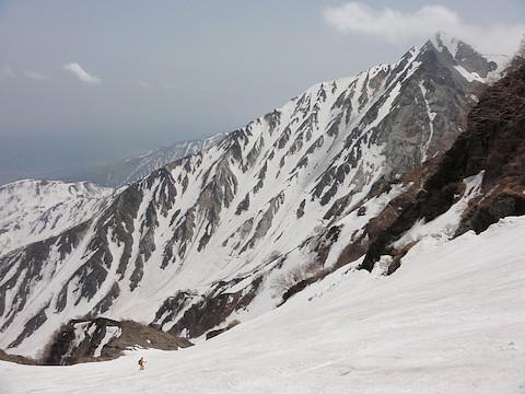 杓子岳を正面に見ながら滑走