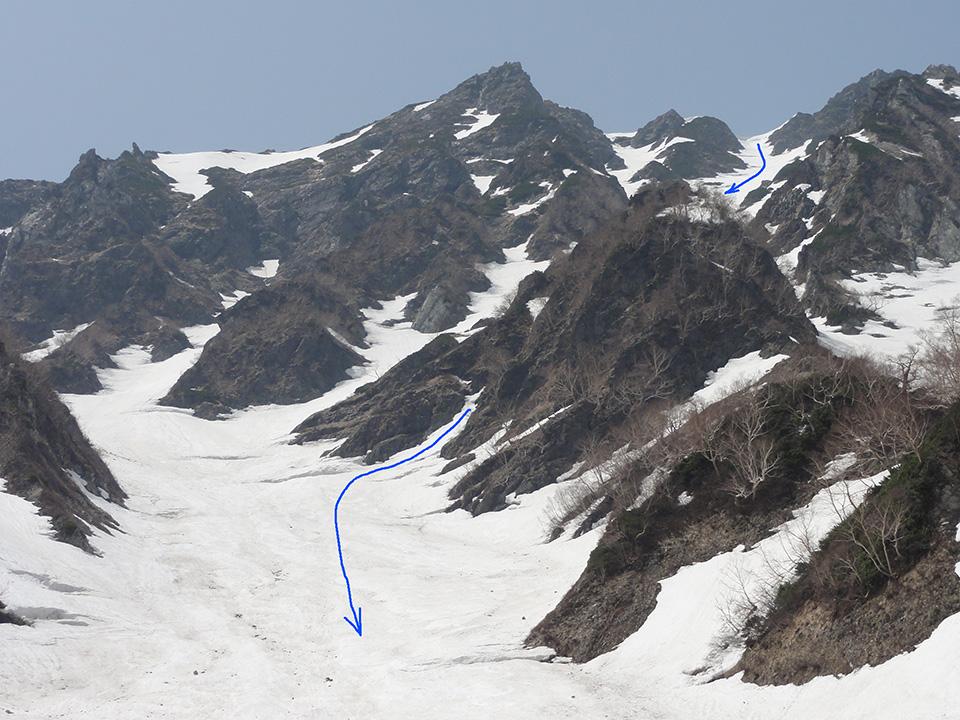 出合から二号雪渓を見上げて