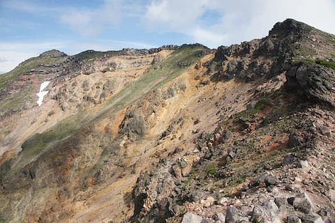 左端が美瑛岳山頂