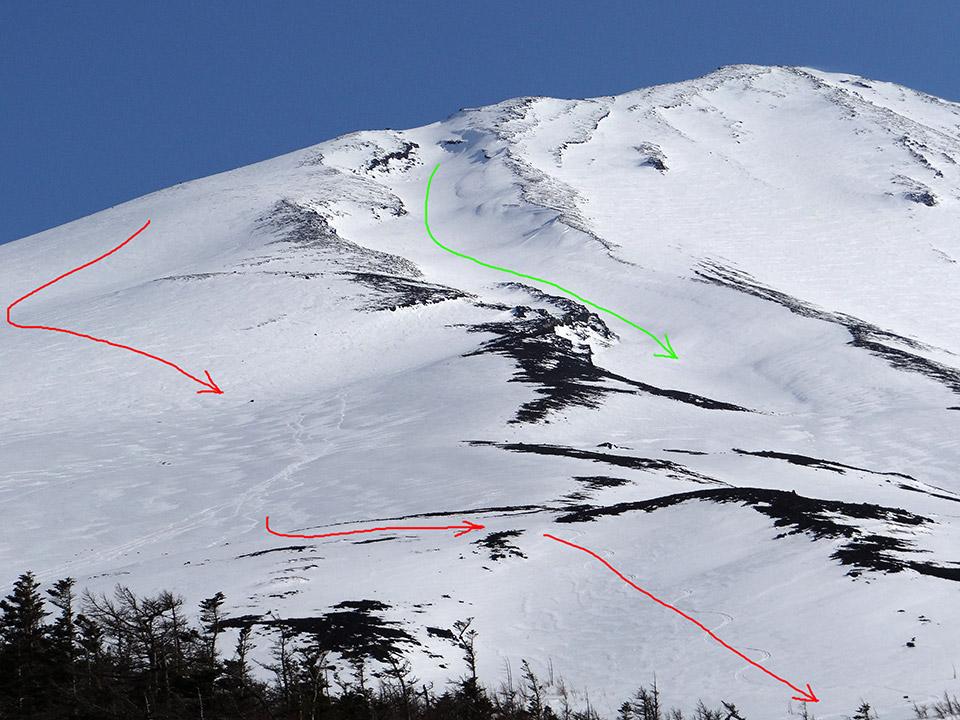 赤がだいたい滑ったルート、緑が小御岳流し