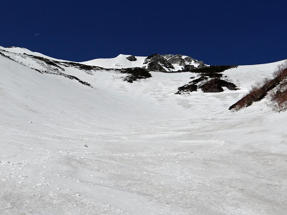 マヤクボ沢出合から針ノ木岳を見上げる