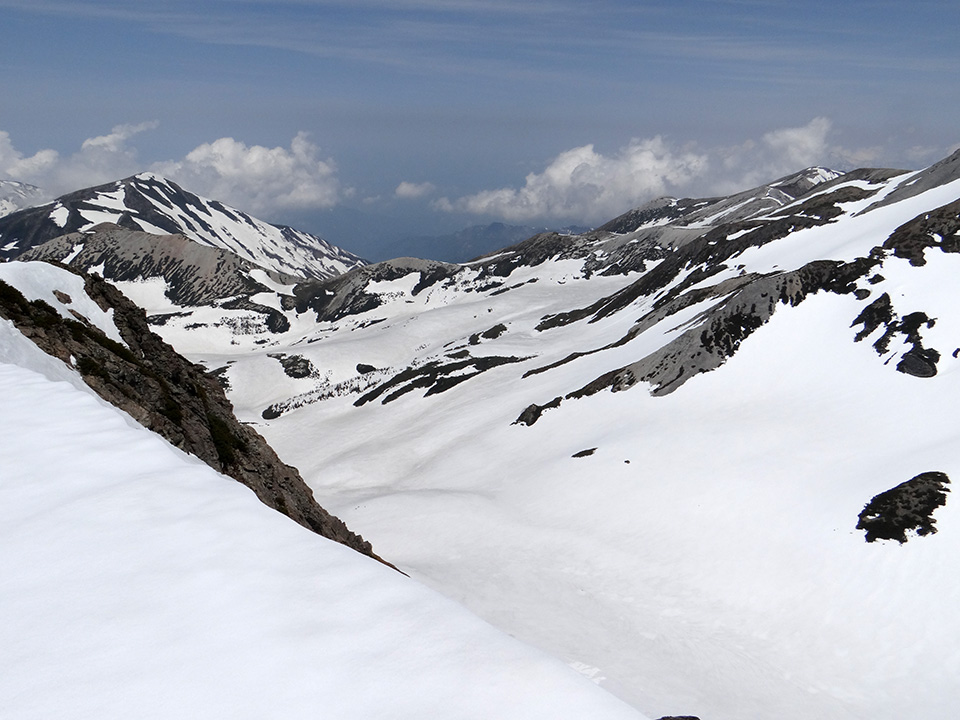 旭岳の山頂から柳又谷源頭を見下ろす