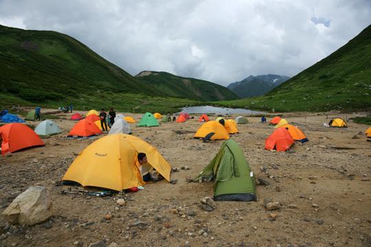 双六小屋のキャンプサイト