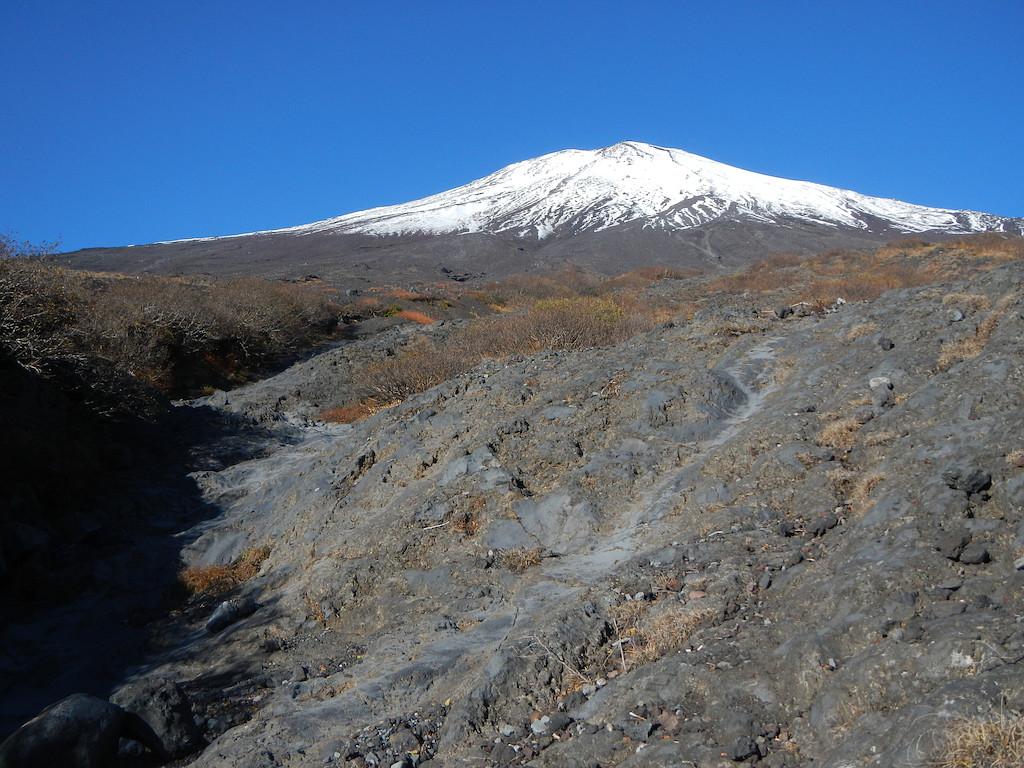幻の滝から富士山を見上げる