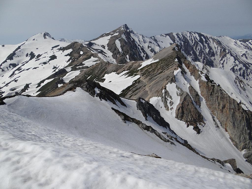 鑓ヶ岳山頂にて定番の景色
