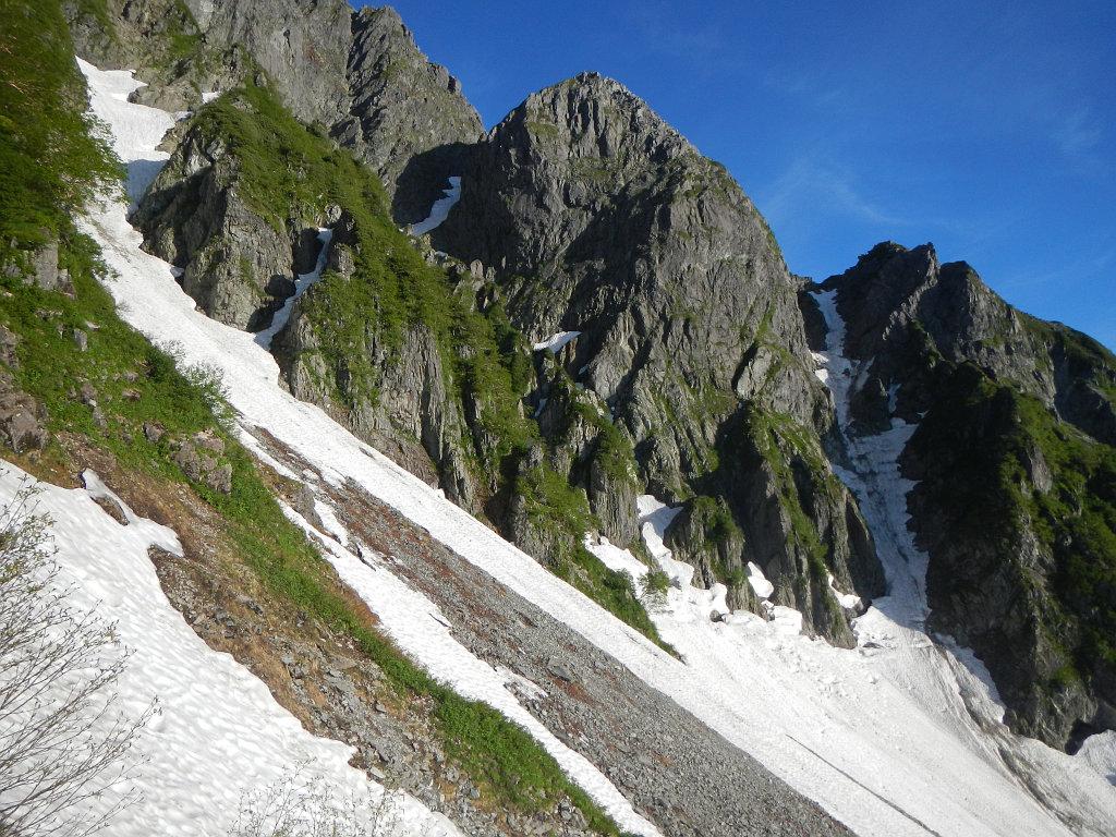 トラバースしながら4峰を望む